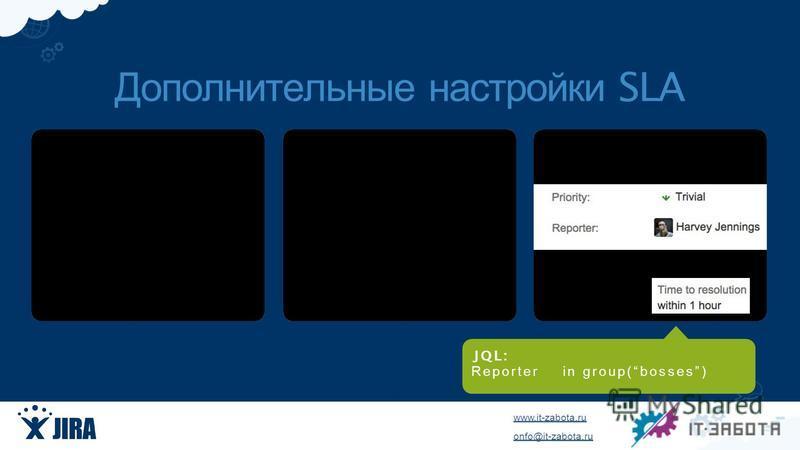 www.it-zabota.ru onfo@it-zabota.ru JQ L : Reporter in group(bosses) Дополнительные настройки SLA