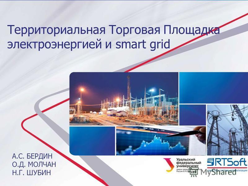 А.С. БЕРДИН О.Д. МОЛЧАН Н.Г. ШУБИН Территориальная Торговая Площадка электроэнергией и smart grid