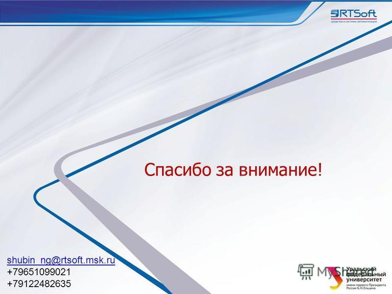 Спасибо за внимание! shubin_ng@rtsoft.msk.ru +79651099021 +79122482635