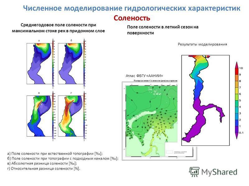 а) Поле солености при естественной топографии []; б) Поле солености при топографии с подходным каналом []; в) Абсолютная разница солености []; г) Относительная разница солености [%]. Среднегодовое поле солености при максимальном стоке рек в придонном