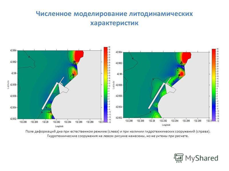 Поле деформаций дна при естественном режиме (слева) и при наличии гидротехнических сооружений (справа). Гидротехнические сооружения на левом рисунке нанесены, но не учтены при расчете. Численное моделирование литодинамических характеристик