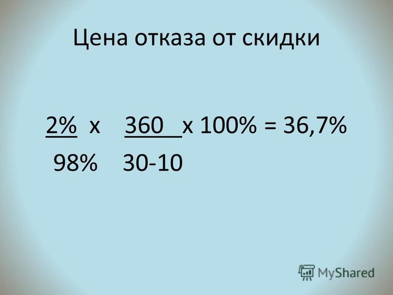 Цена отказа от скидки 2% х 360 х 100% = 36,7% 98% 30-10