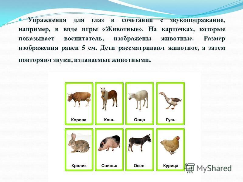 Упражнения для глаз в сочетании с звукоподражание, например, в виде игры «Животные». На карточках, которые показывает воспитатель, изображены животные. Размер изображения равен 5 см. Дети рассматривают животное, а затем повторяют звуки, издаваемые жи