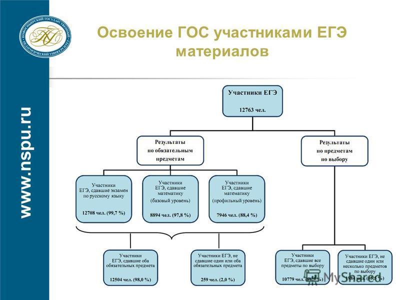 www.nspu.ru Освоение ГОС участниками ЕГЭ материалов