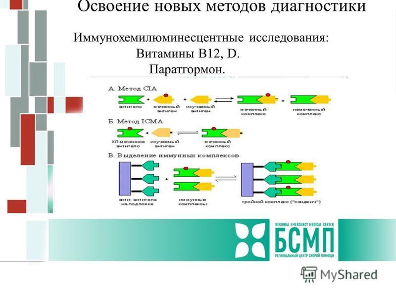 Освоение новых методов диагностики Иммунохемилюминесцентные исследования: Витамины В12, D. Паратгормон.