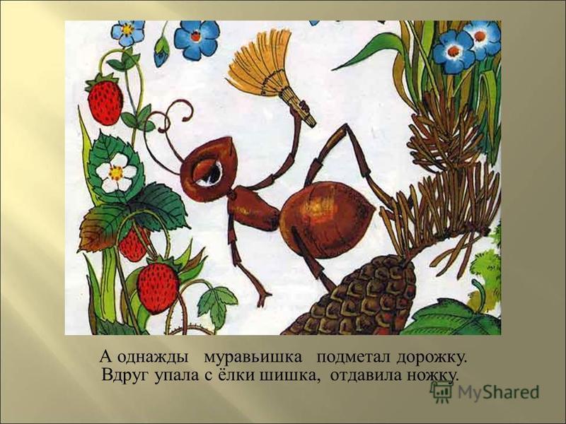 А однажды муравьишка подметал дорожку. Вдруг упала с ёлки шишка, отдавила ножку.