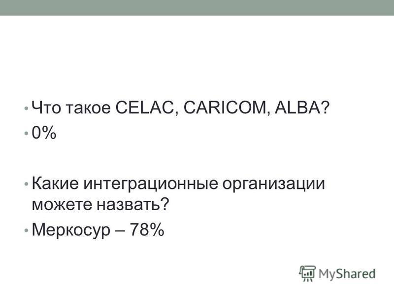 Что такое CELAC, CARICOM, ALBA? 0% Какие интеграционные организации можете назвать? Меркосур – 78%