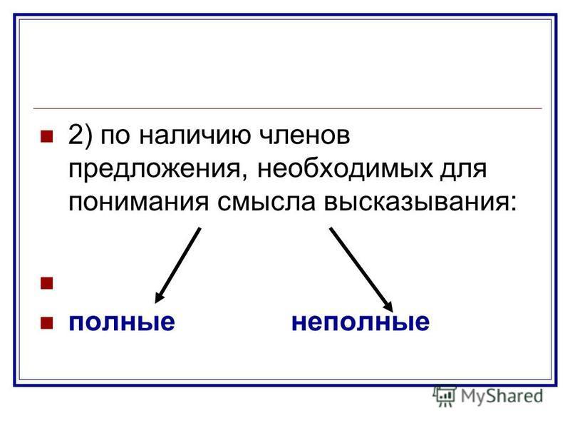 2) по наличию членов предложения, необходимых для понимания смысла высказывания: полные неполные