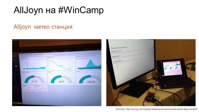 AllJoyn на #WinCamp Alljoyn метеостанция Источник: http://www.lg.com/ru/press-release/lg-new-press-smart-sensor-alljoyn-ifa-2015