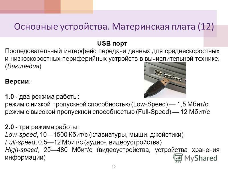Основные устройства. Материнская плата (12) 15 USB порт Последовательный интерфейс передачи данных для среднескоростных и низкоскоростных периферийных устройств в вычислительной технике. (Википедия) Версии: 1.0 - два режима работы: режим с низкой про