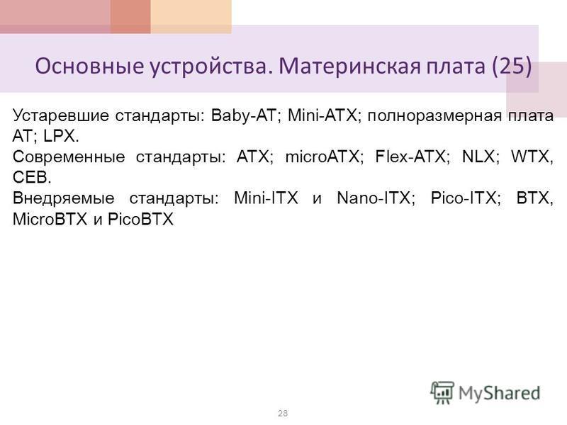 Основные устройства. Материнская плата (25) 28 Устаревшие стандарты: Baby-AT; Mini-ATX; полноразмерная плата AT; LPX. Современные стандарты: АТХ; microATX; Flex-АТХ; NLX; WTX, CEB. Внедряемые стандарты: Mini-ITX и Nano-ITX; Pico-ITX; BTX, MicroBTX и