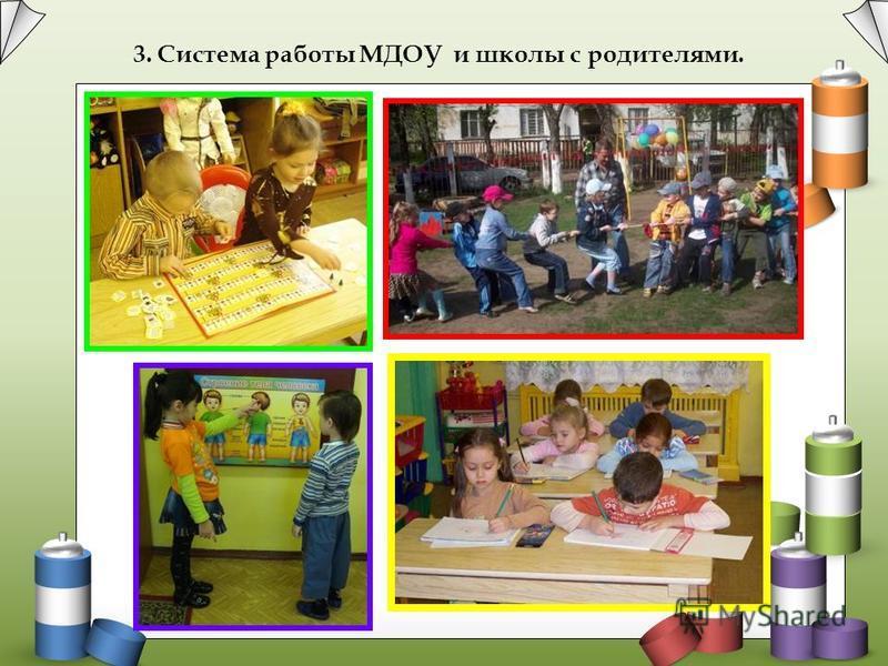 3. Система работы МДОУ и школы с родителями.