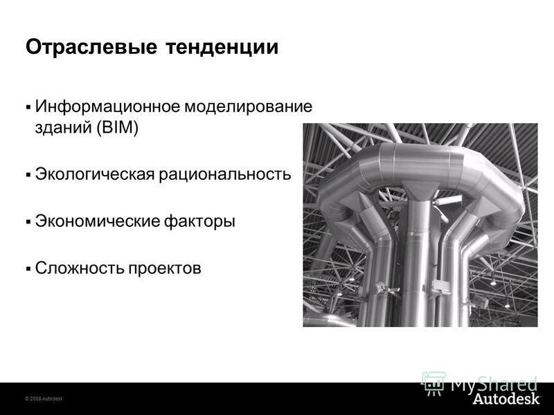© 2008 Autodesk Отраслевые тенденции Информационное моделирование зданий (BIM) Экологическая рациональность Экономические факторы Сложность проектов