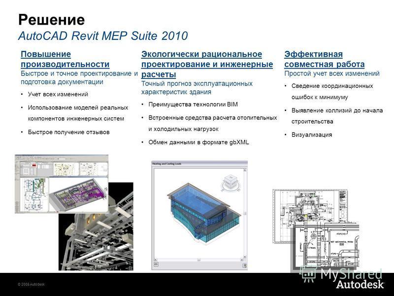 © 2008 Autodesk Решение AutoCAD Revit MEP Suite 2010 Повышение производительности Быстрое и точное проектирование и подготовка документации Учет всех изменений Использование моделей реальных компонентов инженерных систем Быстрое получение отзывов Эко