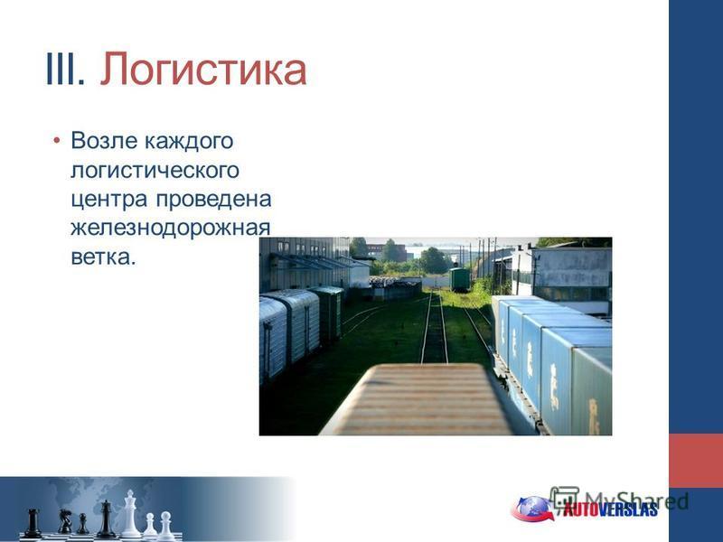 III. Логистика Возле каждого логистического центра проведена железнодорожная ветка.