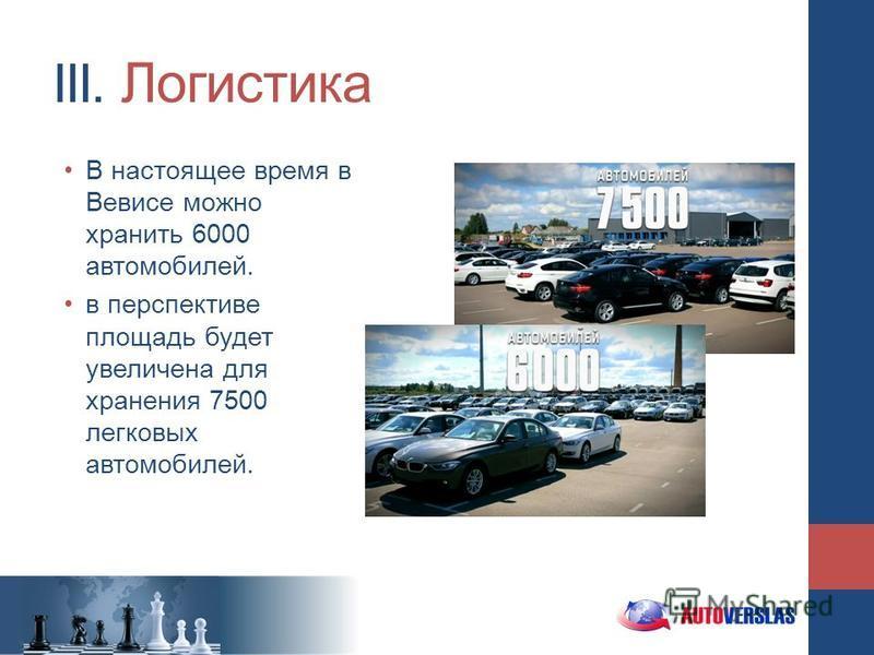 III. Логистика В настоящее время в Вевисе можно хранить 6000 автомобилей. в перспективе площадь будет увеличена для хранения 7500 легковых автомобилей.