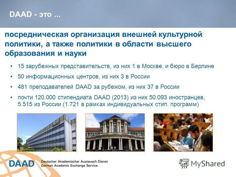 DAAD - это... посредническая организация внешней культурной политики, а также политики в области высшего образования и науки 15 зарубежных представительств, из них 1 в Москве, и бюро в Берлине 50 информационных центров, из них 3 в России 481 преподав