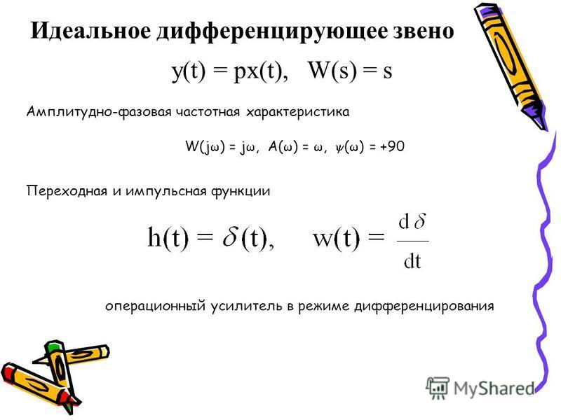 Идеальное дифференцирующее звено y(t) = px(t), W(s) = s Амплитудно-фазовая частотная характеристика W(j ) = j, A( ) =, ( ) = +90 Переходная и импульсная функции операционный усилитель в режиме дифференцирования