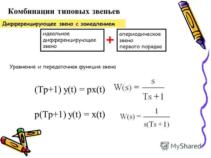 Комбинации типовых звеньев Дифференцирующее звено с замедлением апериодическое звено первого порядка идеальное дифференцирующее звено + (Tp+1) y(t) = px(t) p(Tp+1) y(t) = x(t) Уравнение и передаточная функция звена