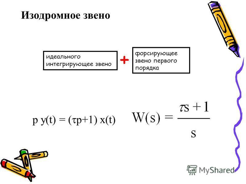 Изодромное звено форсирующее звено первого порядка идеального интегрирующее звено + p y(t) = ( p+1) x(t)