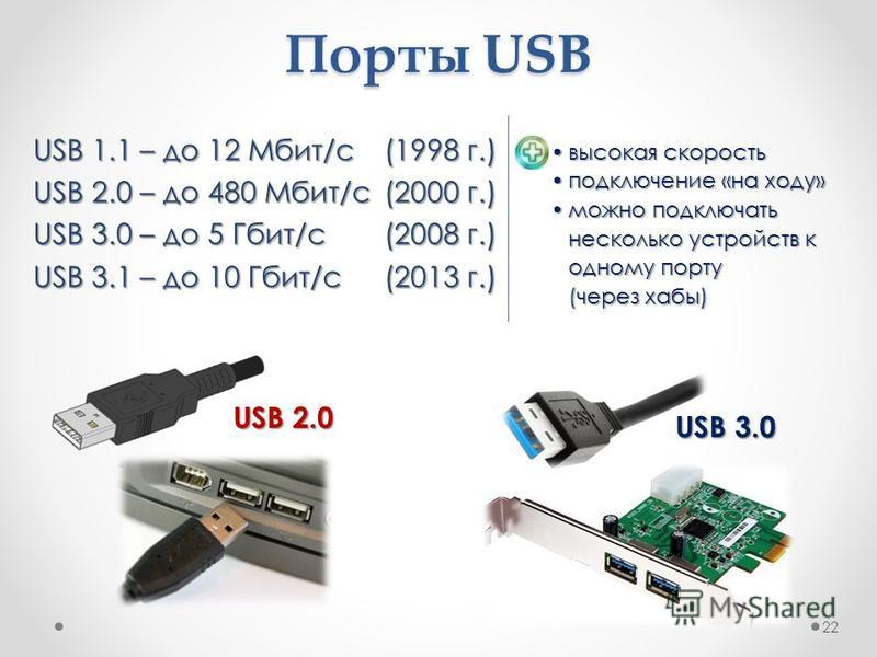 Порты USB USB 1.1 – до 12 Мбит/c (1998 г.) USB 2.0 – до 480 Мбит/c (2000 г.) USB 3.0 – до 5 Гбит/с (2008 г.) USB 3.1 – до 10 Гбит/с (2013 г.) 22 USB 2.0 USB 3.0 высокая скорость высокая скорость подключение «на ходу»подключение «на ходу» можно подклю
