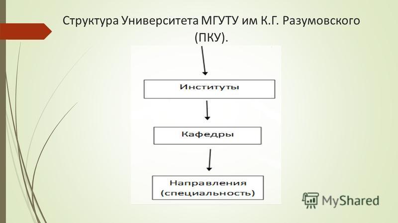 Структура Университета МГУТУ им К.Г. Разумовского (ПКУ).