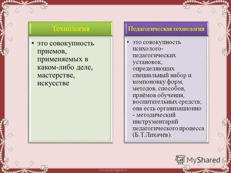 FokinaLida.75@mail.ru Технология это совокупность приемов, применяемых в каком-либо деле, мастерстве, искусстве Педагогическая технология это совокупность психолого- педагогических установок, определяющих специальный набор и компоновку форм, методов,