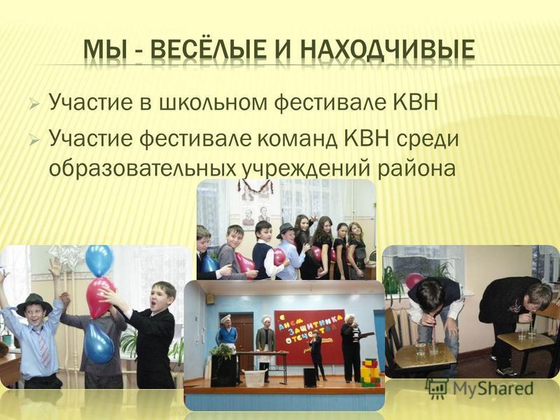 Участие в школьном фестивале КВН Участие фестивале команд КВН среди образовательных учреждений района