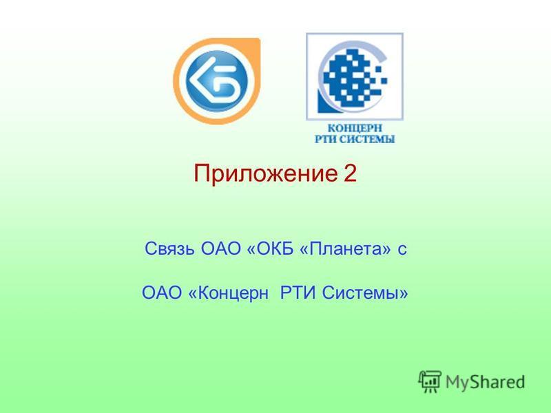 Приложение 2 Связь ОАО «ОКБ «Планета» с ОАО «Концерн РТИ Системы»