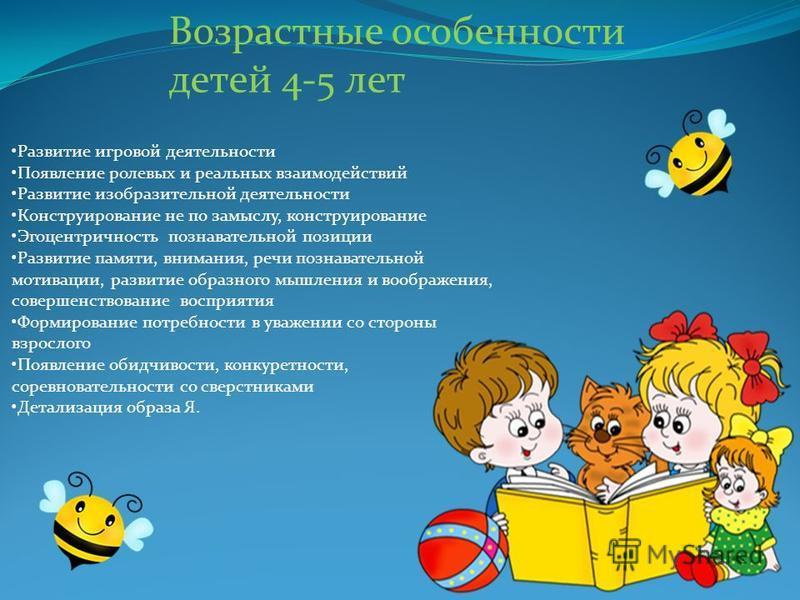 возрастные особенности детей 4 5 лет в картинках