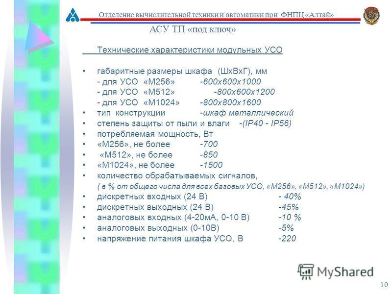 10 Технические характеристики модульных УСО габаритные размеры шкафа (Шх ВхГ), мм - для УСО «М256» -600 х 600 х 1000 - для УСО «М512» -800 х 600 х 1200 - для УСО «М1024»-800 х 800 х 1600 тип конструкции -шкаф металлический степень защиты от пыли и вл