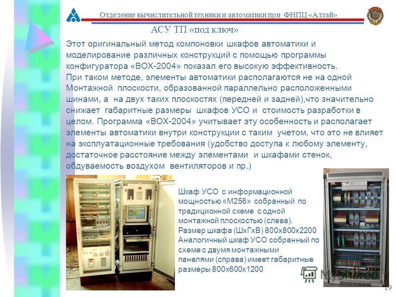 19 Этот оригинальный метод компоновки шкафов автоматики и моделирование различных конструкций с помощью программы конфигуратора «ВОХ-2004» показал его высокую эффективность. При таком методе, элементы автоматики располагаются не на одной Монтажной пл
