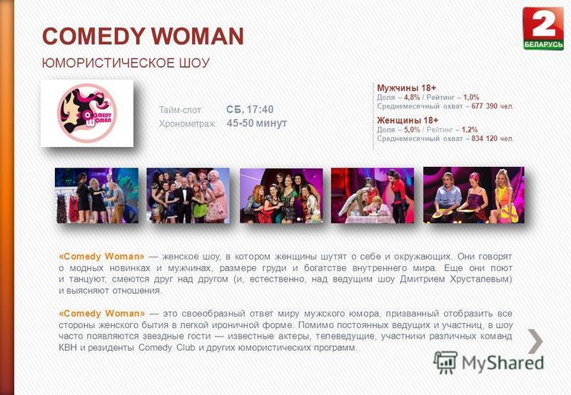COMEDY WOMAN ЮМОРИСТИЧЕСКОЕ ШОУ Тайм-слот: СБ, 17:40 Хронометраж: 45-50 минут Мужчины 18+ Доля – 4,8% / Рейтинг – 1,0% Среднемесячный охват – 677 390 чел. Женщины 18+ Доля – 5,0% / Рейтинг – 1,2% Среднемесячный охват – 834 120 чел.. «Comedy Woman» же