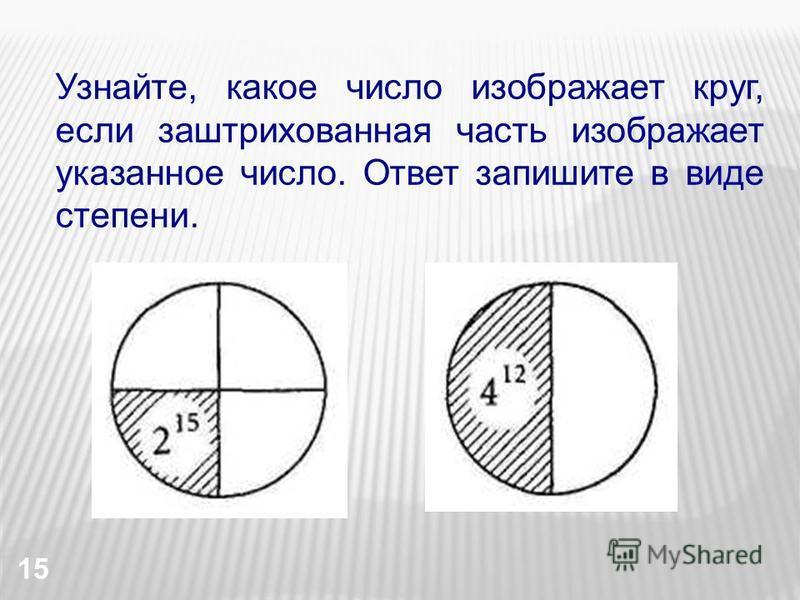 15 Узнайте, какое число изображает круг, если заштрихованная часть изображает указанное число. Ответ запишите в виде степени.