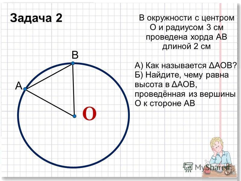 В окружности с центром О и радиксом 3 см проведена хорда АВ длиной 2 см А) Как называется ΔАОВ? Б) Найдите, чему равна высота в ΔАОВ, проведённая из вершины О к стороне АВ О 11 А В Задача 2