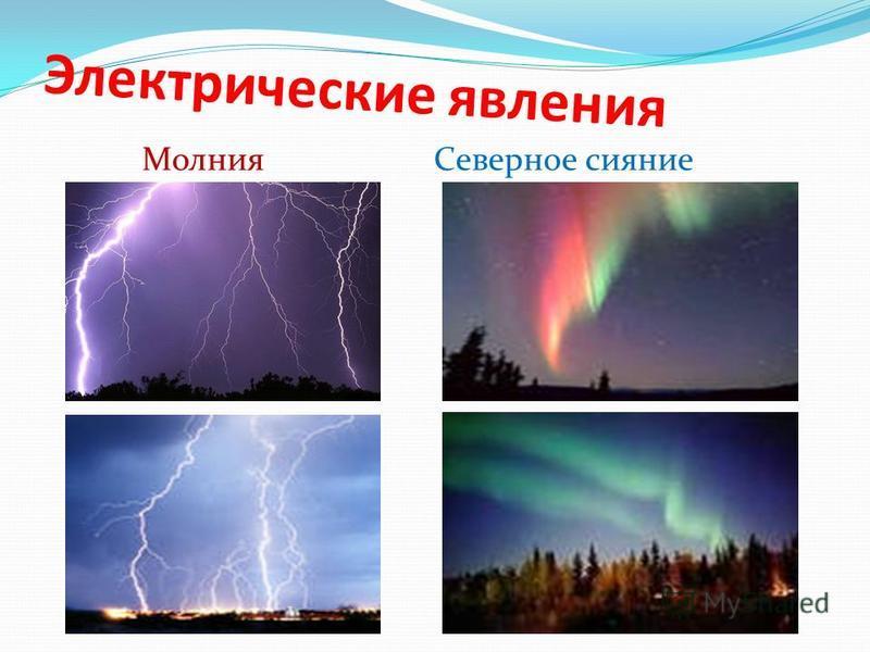 Электрические явления Молния Северное сияние