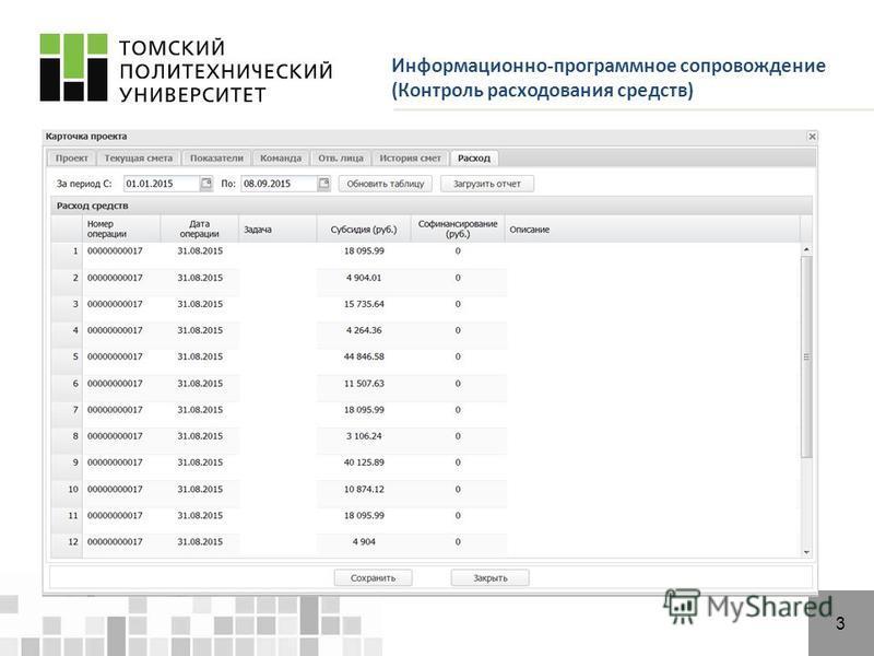 Информационно-программное сопровождение (Контроль расходования средств) 3