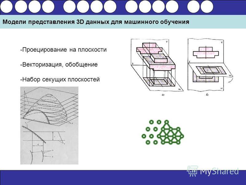Модели представления 3D данных для машинного обучения -Проецирование на плоскости -Векторизация, обобщение -Набор секущих плоскостей