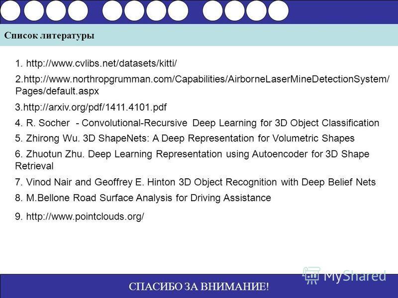 СПАСИБО ЗА ВНИМАНИЕ! Список литературы 1. http://www.cvlibs.net/datasets/kitti/ 2.http://www.northropgrumman.com/Capabilities/AirborneLaserMineDetectionSystem/ Pages/default.aspx 3.http://arxiv.org/pdf/1411.4101. pdf 4. R. Socher - Convolutional-Recu