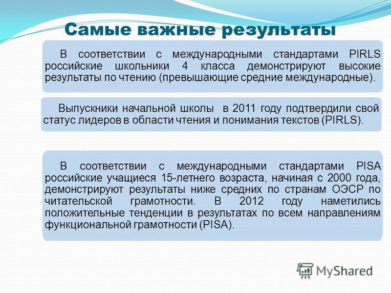 Самые важные результаты В соответствии с международными стандартами PIRLS российские школьники 4 класса демонстрируют высокие результаты по чтению (превышающие средние международные). Выпускники начальной школы в 2011 году подтвердили свой статус лид