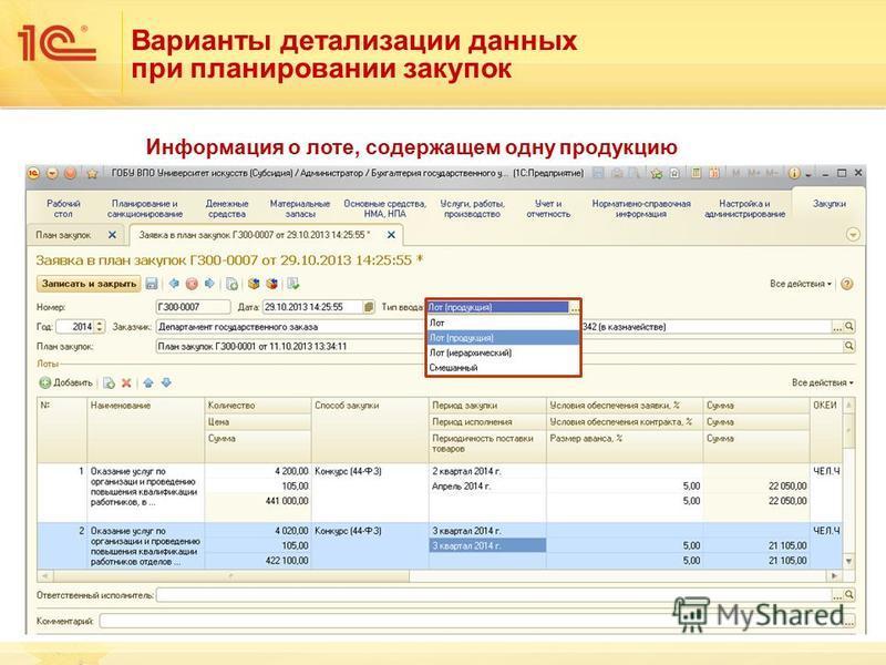 Варианты детализации данных при планировании закупок Информация о лоте, содержащем одну продукцию
