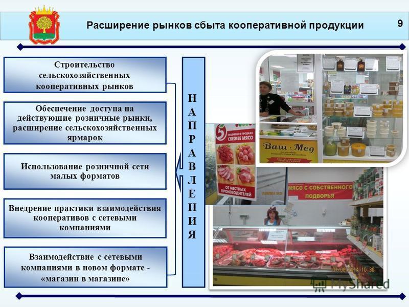 Расширение рынков сбыта кооперативной продукции Строительство сельскохозяйственных кооперативных рынков Обеспечение доступа на действующие розничные рынки, расширение сельскохозяйственных ярмарок Использование розничной сети малых форматов 9 Взаимоде
