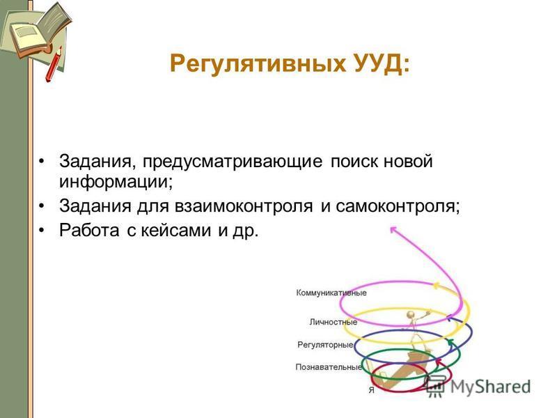 Регулятивных УУД: Задания, предусматривающие поиск новой информации; Задания для взаимоконтроля и самоконтроля; Работа с кейсами и др. 27