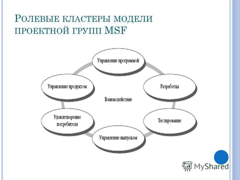 Р ОЛЕВЫЕ КЛАСТЕРЫ МОДЕЛИ ПРОЕКТНОЙ ГРУПП MSF