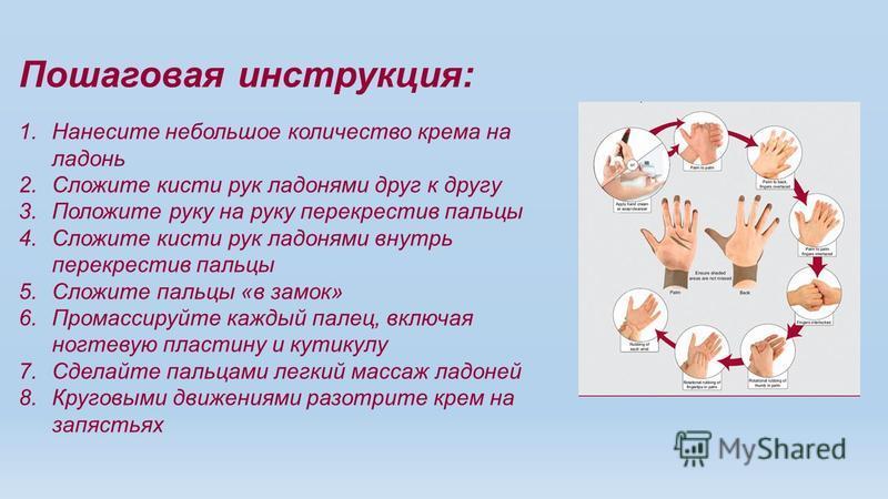 Пошаговая инструкция: 1. Нанесите небольшое количество крема на ладонь 2. Сложите кисти рук ладонями друг к другу 3. Положите руку на руку перекрестив пальцы 4. Сложите кисти рук ладонями внутрь перекрестив пальцы 5. Сложите пальцы «в замок» 6. Прома