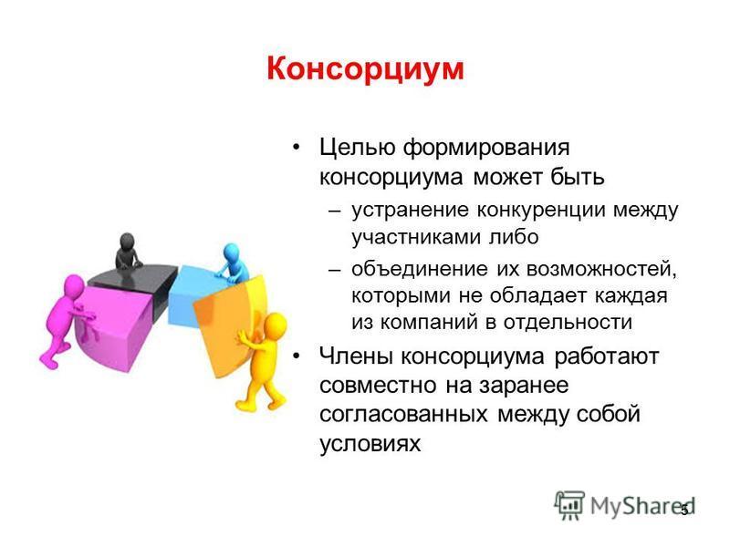 Консорциум Целью формирования консорциума может быть –устранение конкуренции между участниками либо –объединение их возможностей, которыми не обладает каждая из компаний в отдельности Члены консорциума работают совместно на заранее согласованных межд