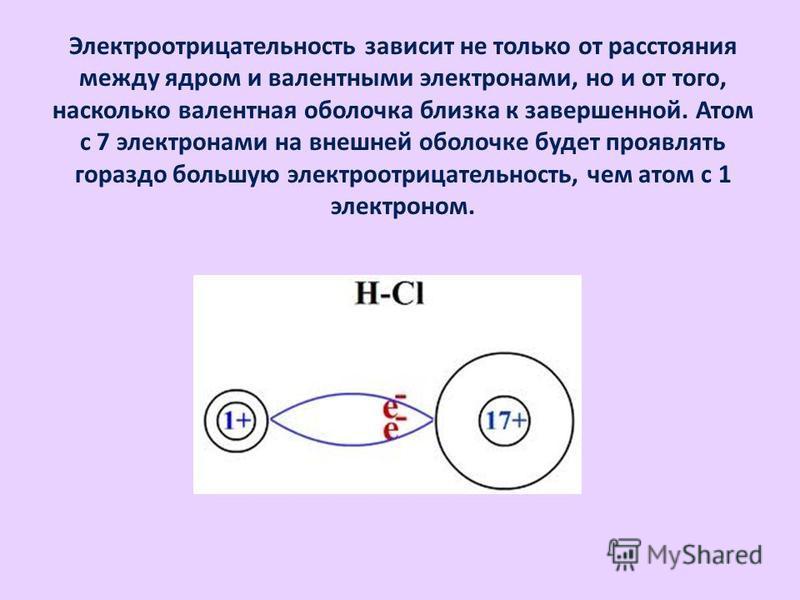 Электроотрицательность зависит не только от расстояния между ядром и валентными электронами, но и от того, насколько валентная оболочка близка к завершенной. Атом с 7 электронами на внешней оболочке будет проявлять гораздо большую электроотрицательно