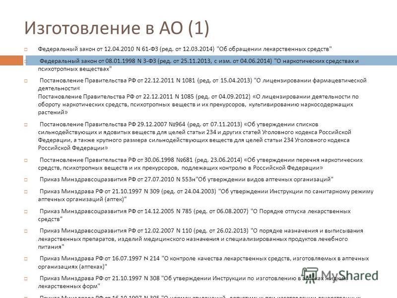 Изготовление в АО (1) Федеральный закон от 12.04.2010 N 61- ФЗ ( ред. от 12.03.2014)
