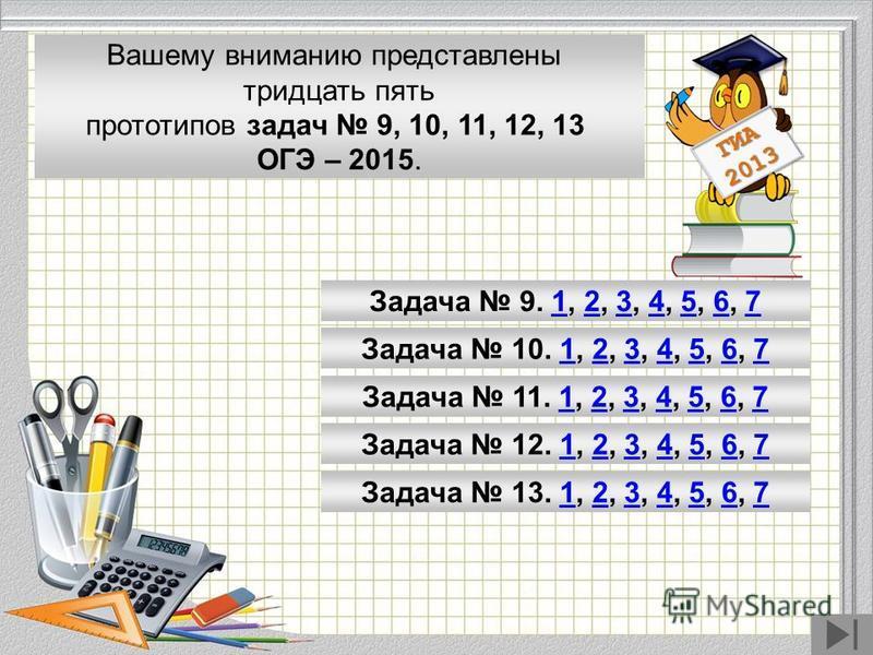 Модуль «Геометрия» содержит 8 заданий: в части 1 - 5 заданий, в части 2 - 3 задания. ГИА 2013 Вашему вниманию представлены тридцать пять прототипов задач 9, 10, 11, 12, 13 ОГЭ – 2015. Задача 9. 1, 2, 3, 4, 5, 6, 71234567 Задача 10. 1, 2, 3, 4, 5, 6,