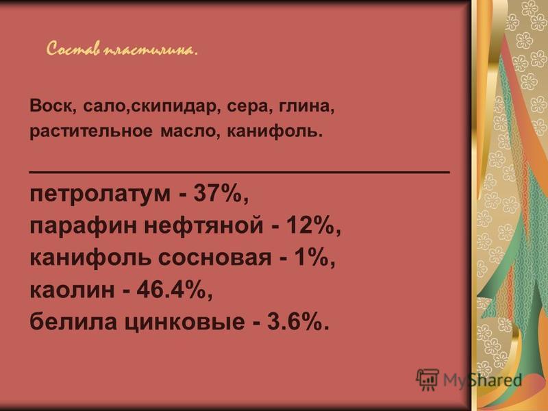 Состав пластилина. Воск, сало,скипидар, сера, глина, растительное масло, канифоль. _______________________________ петролатум - 37%, парафин нефтяной - 12%, канифоль сосновая - 1%, каолин - 46.4%, белила цинковые - 3.6%.